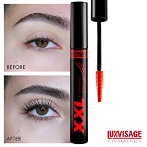 Best 5 Mascaras For Volume, Length And Curl You Didn't Know. Number 1. Luxvisage Mascara XXL Super Volume - False Lashes Effect. Photo before and after usage of mascara.