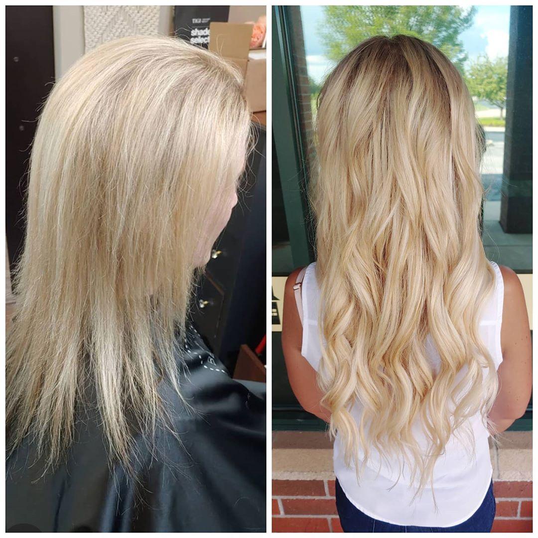 Extensions de micro perles de cheveux avant et après.