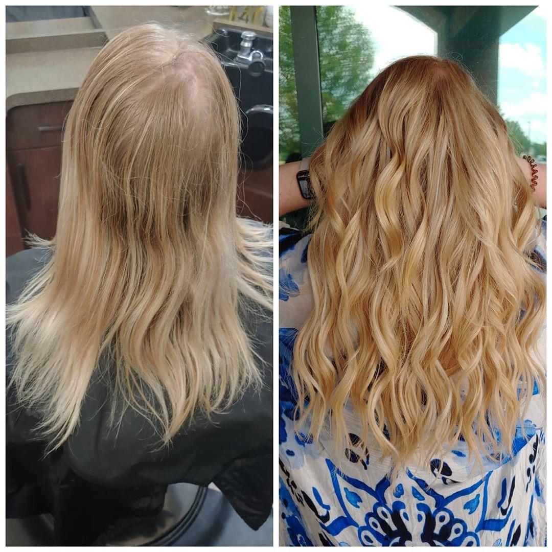 Estensioni dei capelli di perline prima e dopo.