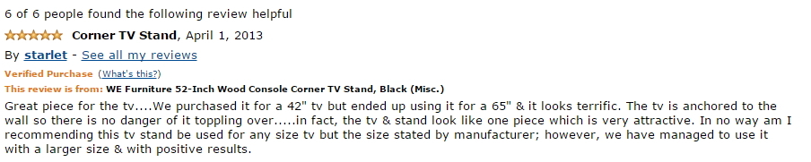 Corner TV Stands WE Furniture 52-Inch Review